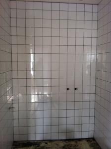 Badrummen är kaklade